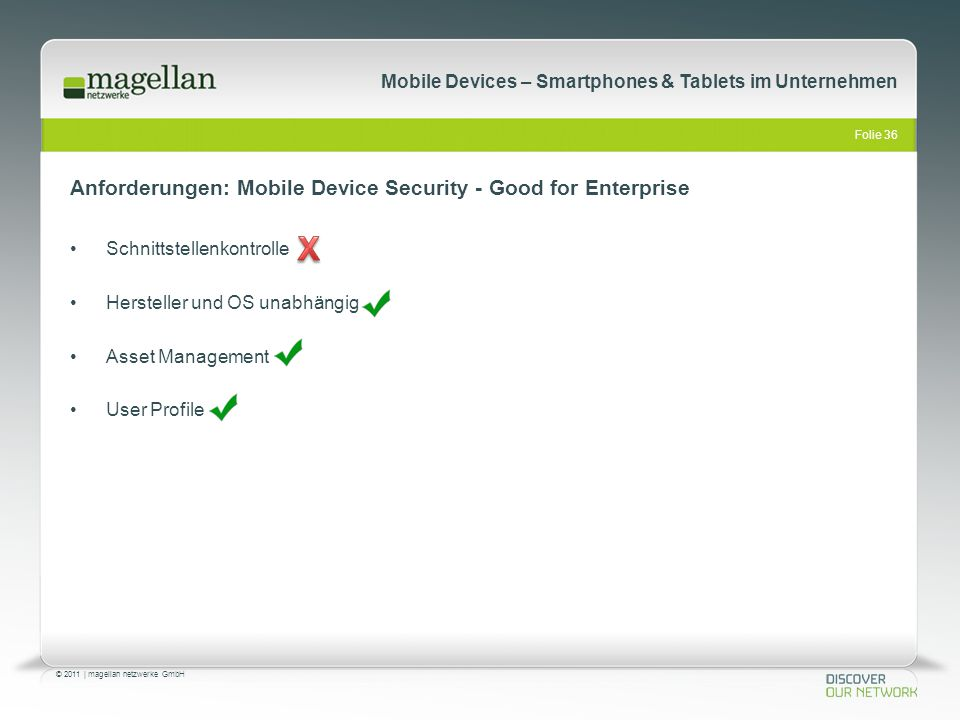 Anforderungen: Mobile Device Security - Good for Enterprise