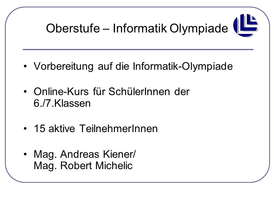 Oberstufe – Informatik Olympiade
