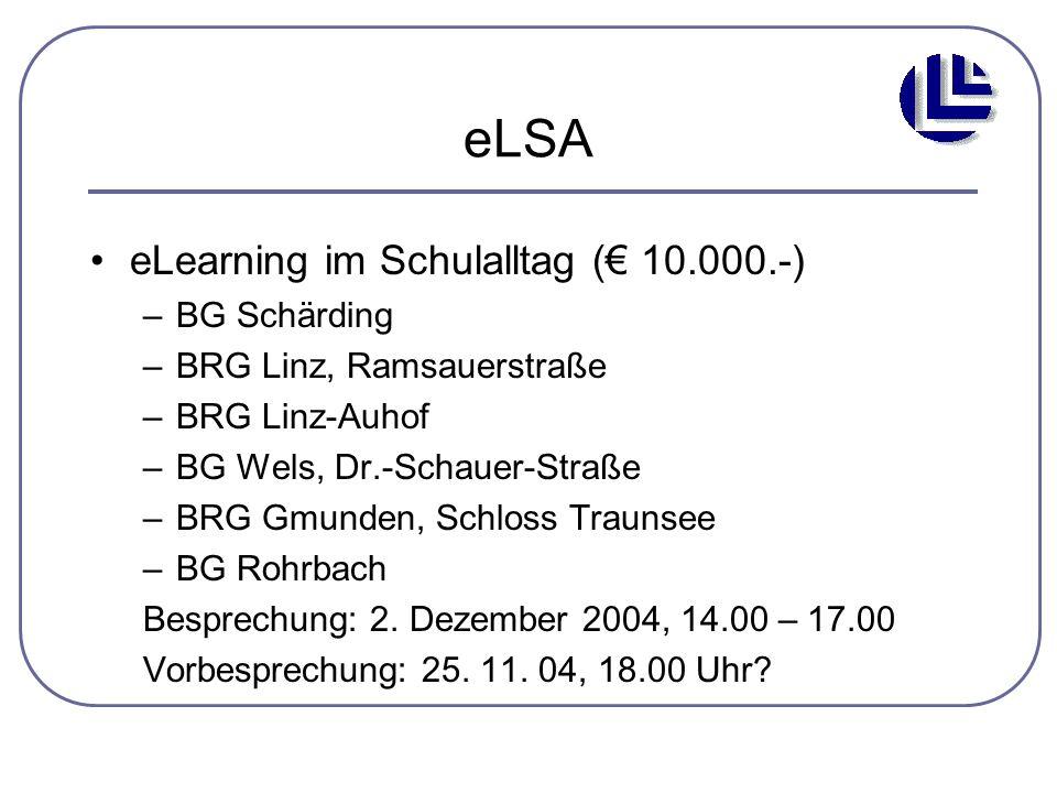 eLSA eLearning im Schulalltag (€ 10.000.-) BG Schärding
