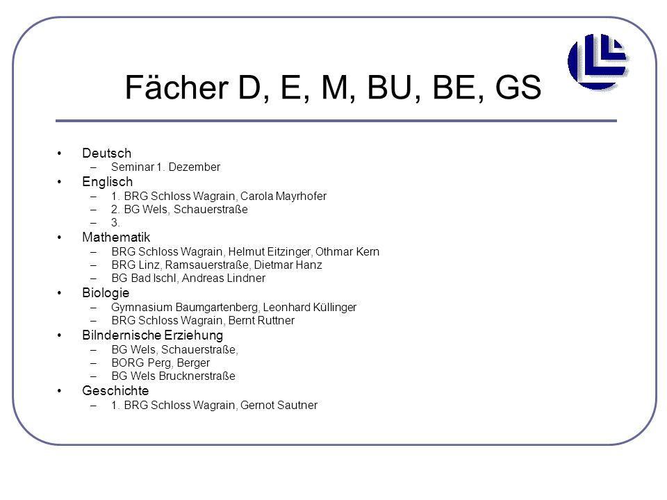 Fächer D, E, M, BU, BE, GS Deutsch Englisch Mathematik Biologie