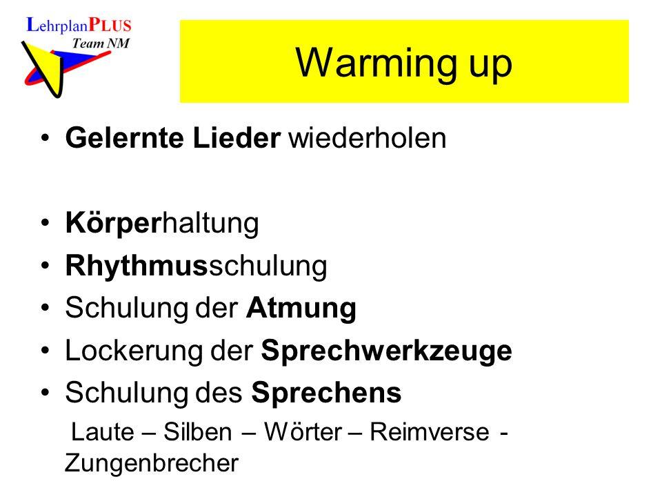 Warming up Gelernte Lieder wiederholen Körperhaltung Rhythmusschulung