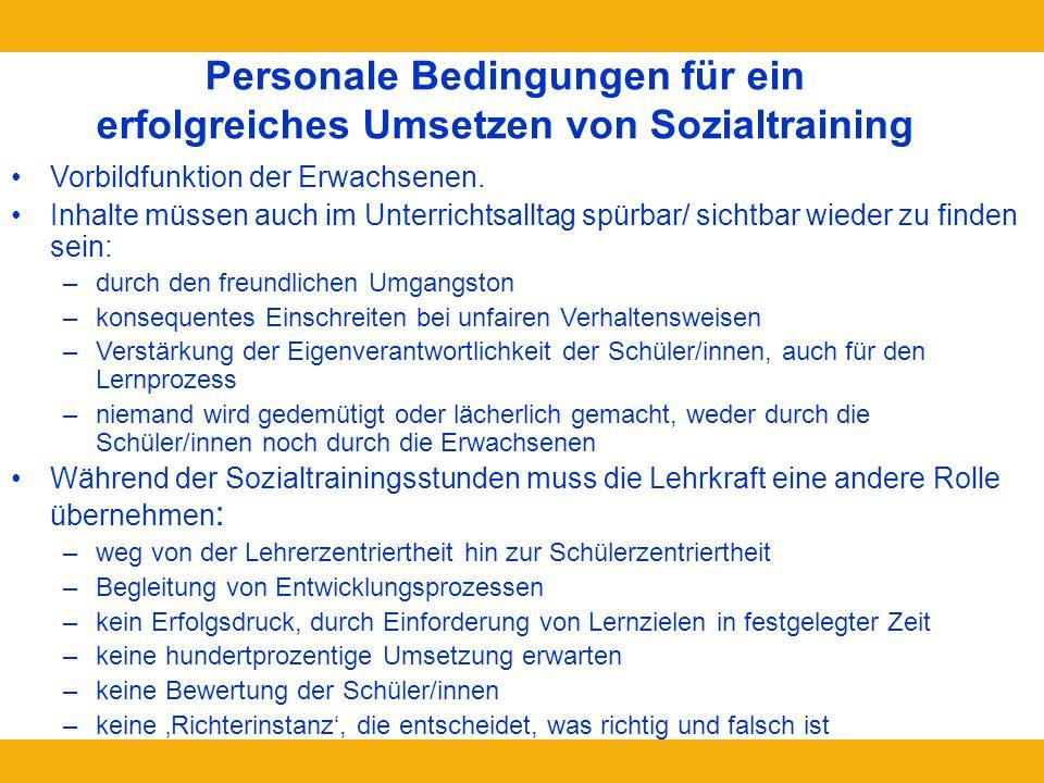 Personale Bedingungen für ein erfolgreiches Umsetzen von Sozialtraining