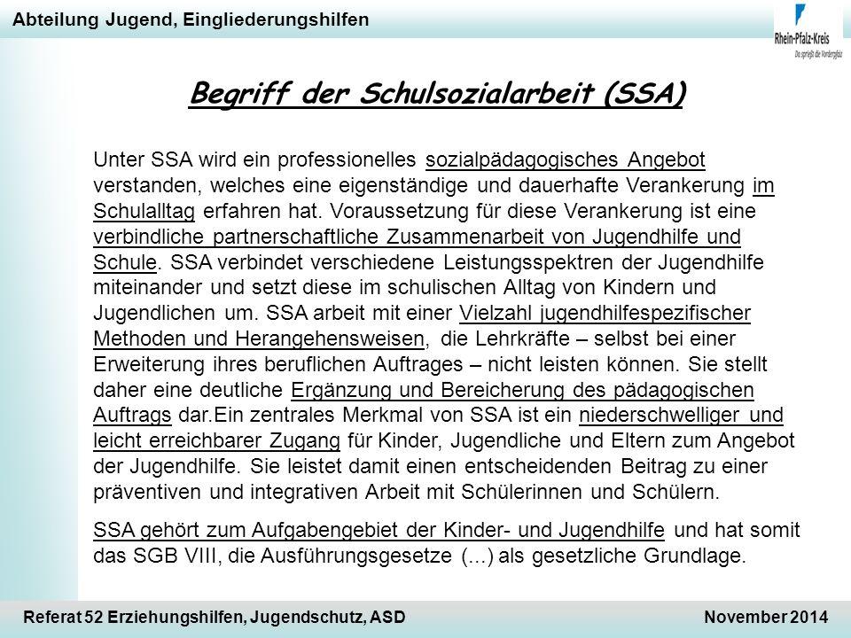 Begriff der Schulsozialarbeit (SSA)
