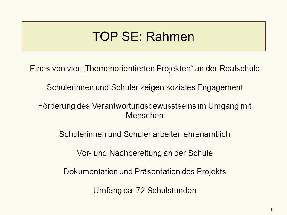 """TOP SE: Rahmen Eines von vier """"Themenorientierten Projekten an der Realschule. Schülerinnen und Schüler zeigen soziales Engagement."""