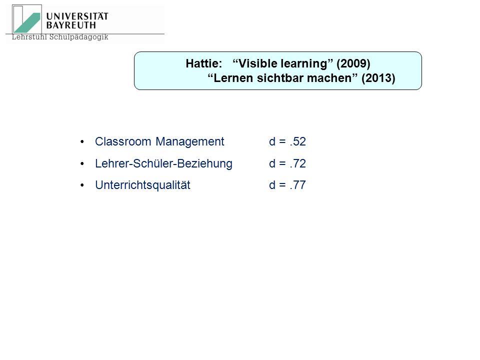 Hattie: Visible learning (2009) Lernen sichtbar machen (2013)