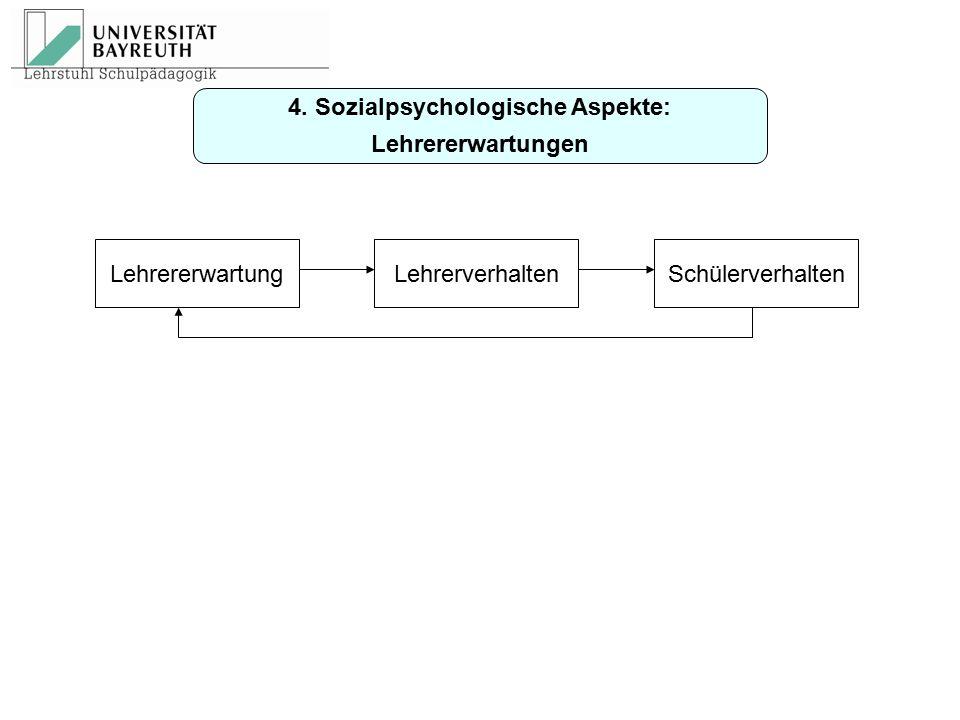 4. Sozialpsychologische Aspekte: Lehrererwartungen