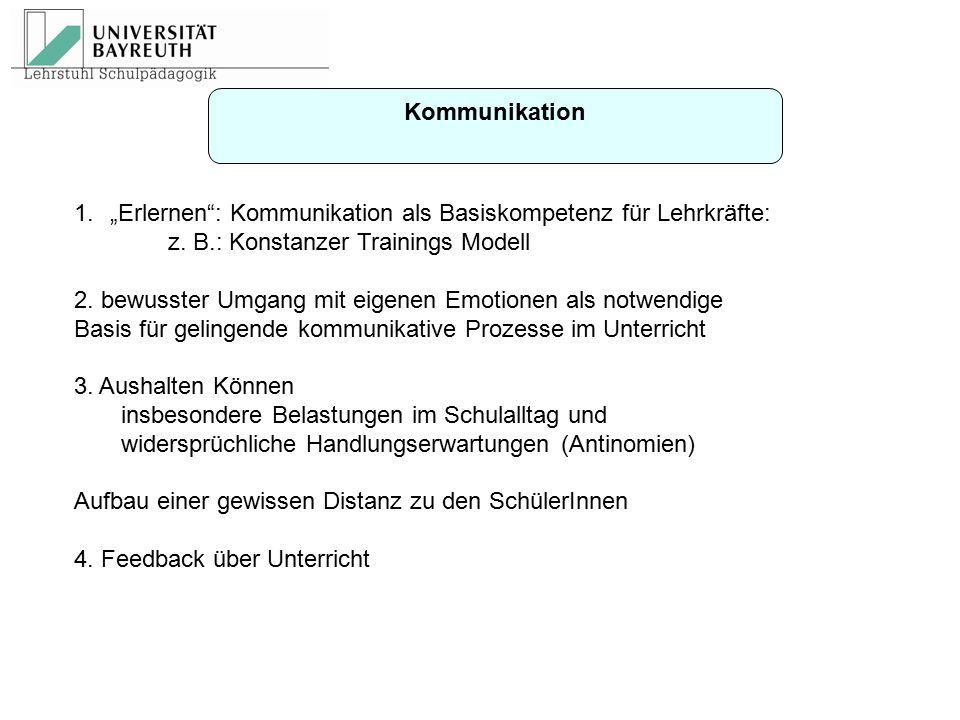 """Kommunikation """"Erlernen : Kommunikation als Basiskompetenz für Lehrkräfte: z. B.: Konstanzer Trainings Modell."""