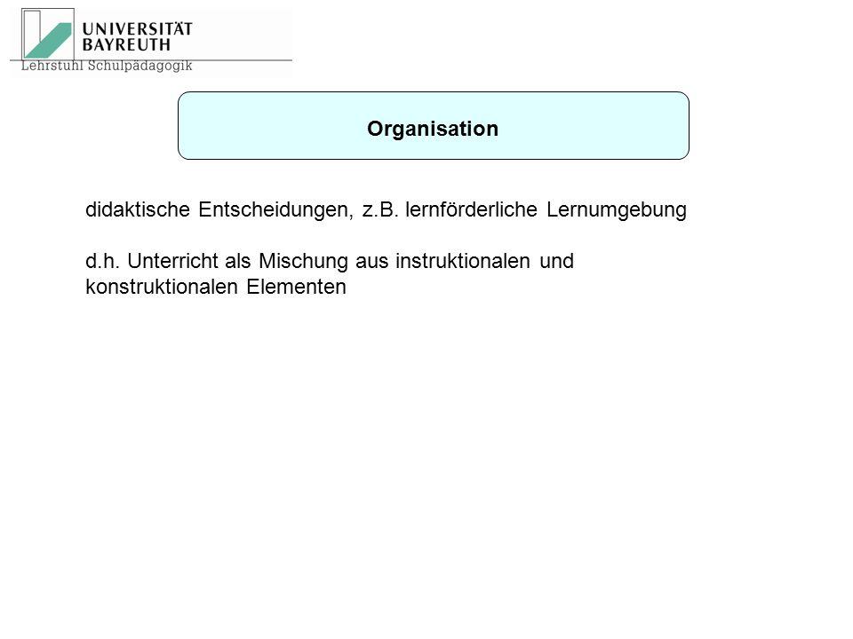 Organisation didaktische Entscheidungen, z.B. lernförderliche Lernumgebung.
