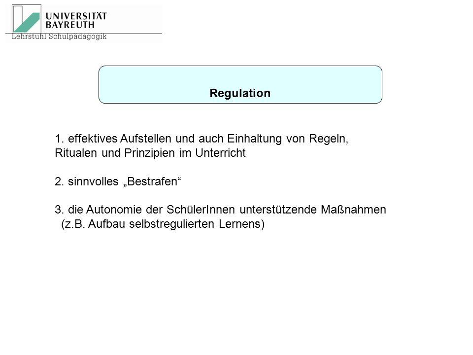 Regulation 1. effektives Aufstellen und auch Einhaltung von Regeln, Ritualen und Prinzipien im Unterricht.