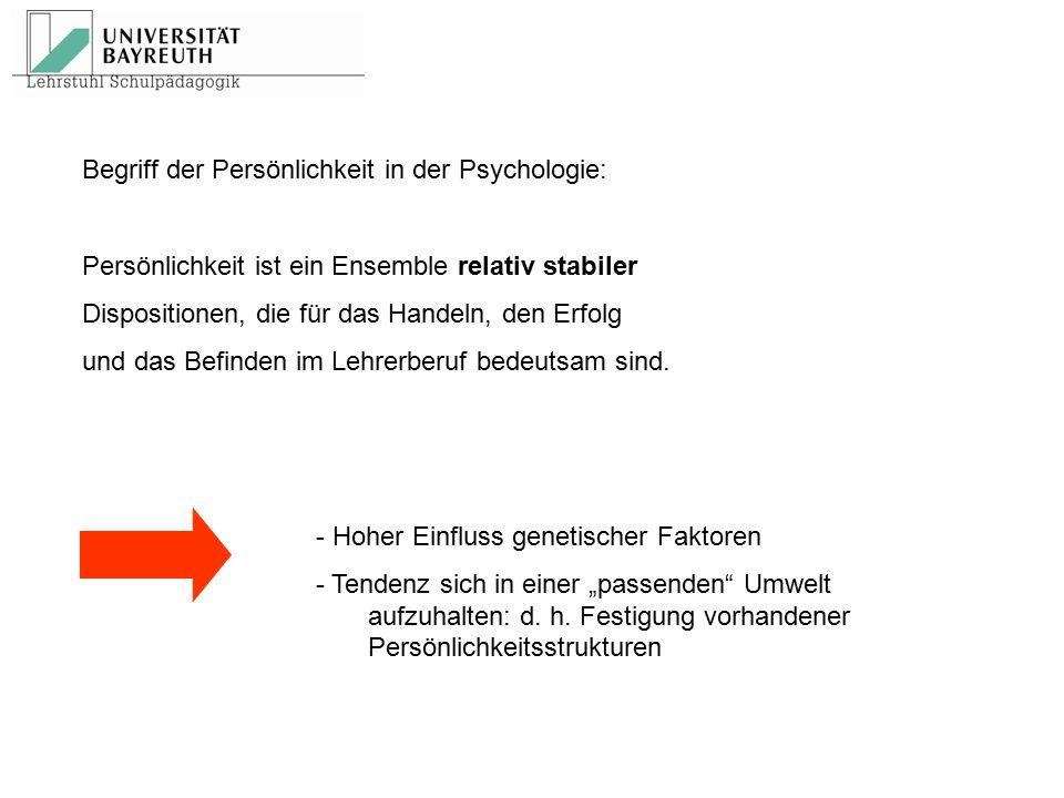 Begriff der Persönlichkeit in der Psychologie: