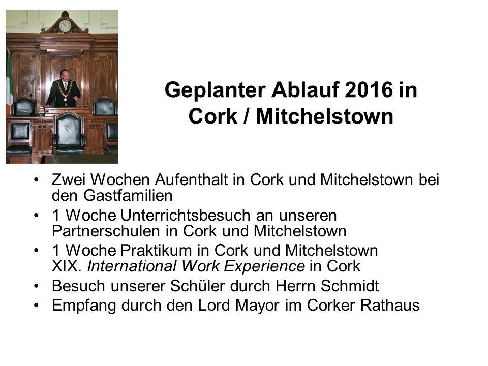 Geplanter Ablauf 2016 in Cork / Mitchelstown