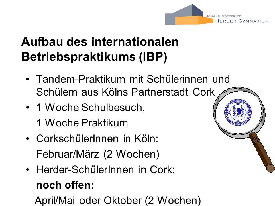 Aufbau des internationalen Betriebspraktikums (IBP)