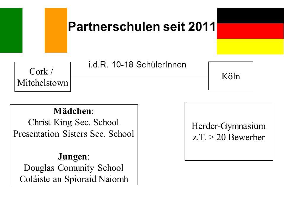 Partnerschulen seit 2011 Cork / Köln Mitchelstown Mädchen: