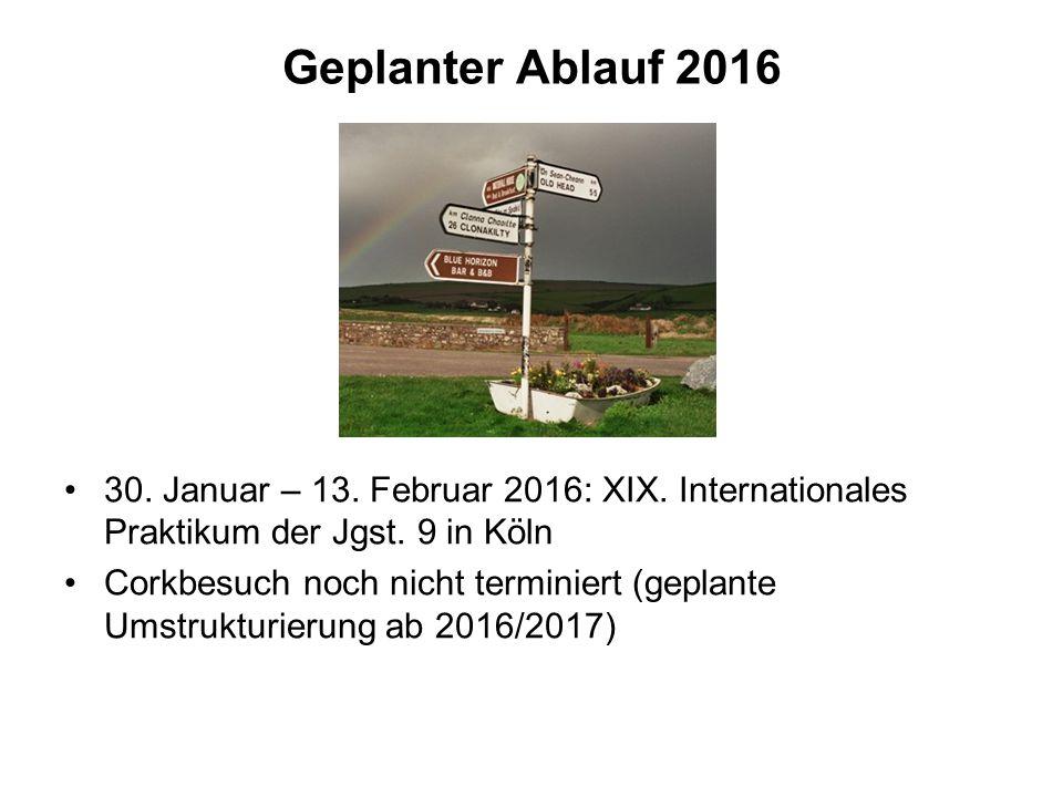 Geplanter Ablauf 2016 30. Januar – 13. Februar 2016: XIX. Internationales Praktikum der Jgst. 9 in Köln.
