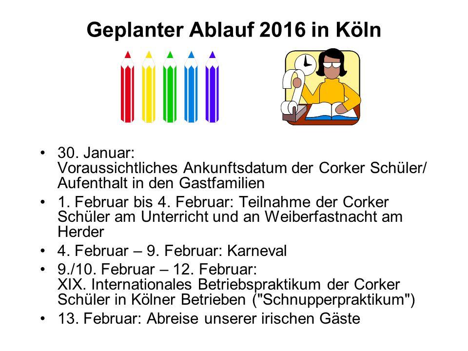 Geplanter Ablauf 2016 in Köln