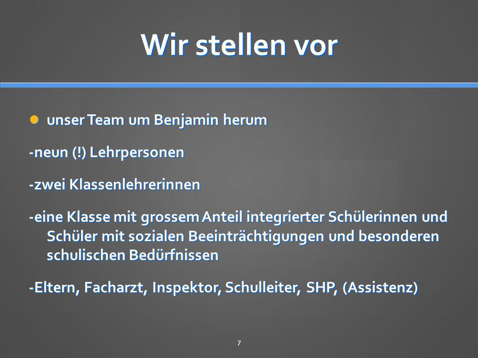 Wir stellen vor unser Team um Benjamin herum -neun (!) Lehrpersonen