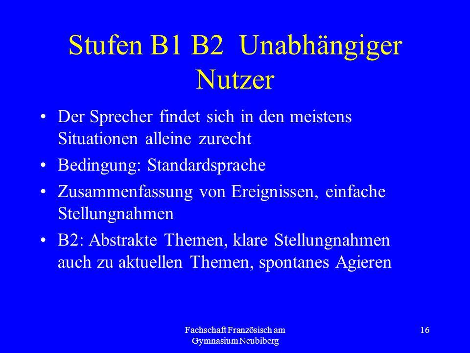 Stufen B1 B2 Unabhängiger Nutzer