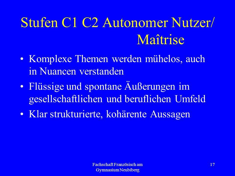 Stufen C1 C2 Autonomer Nutzer/ Maîtrise