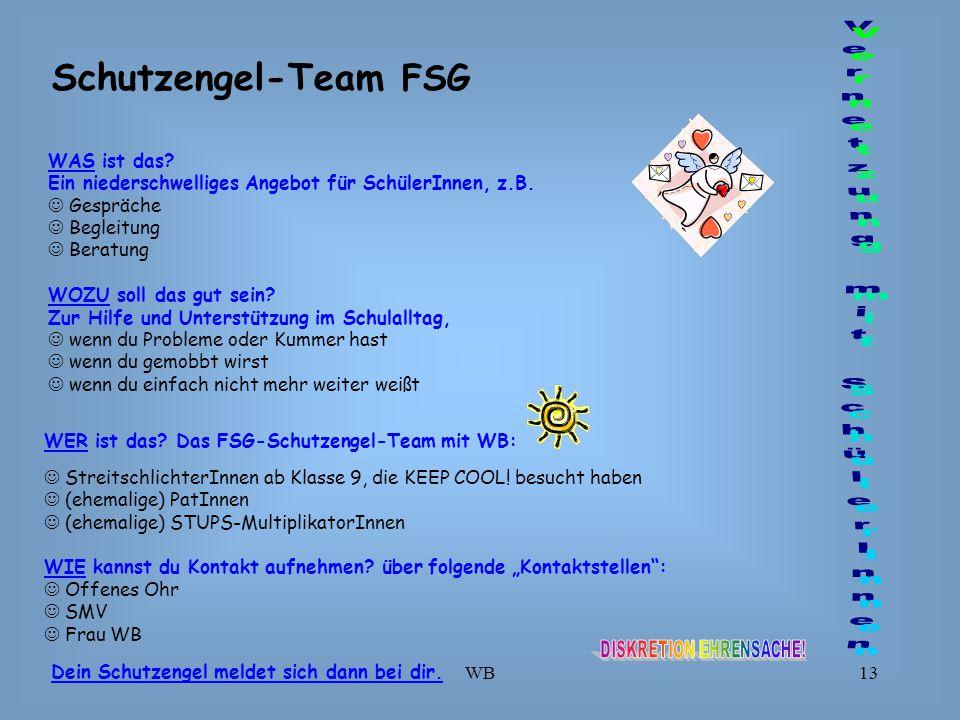 Schutzengel-Team FSG Vernetzung mit SchülerInnen WAS ist das