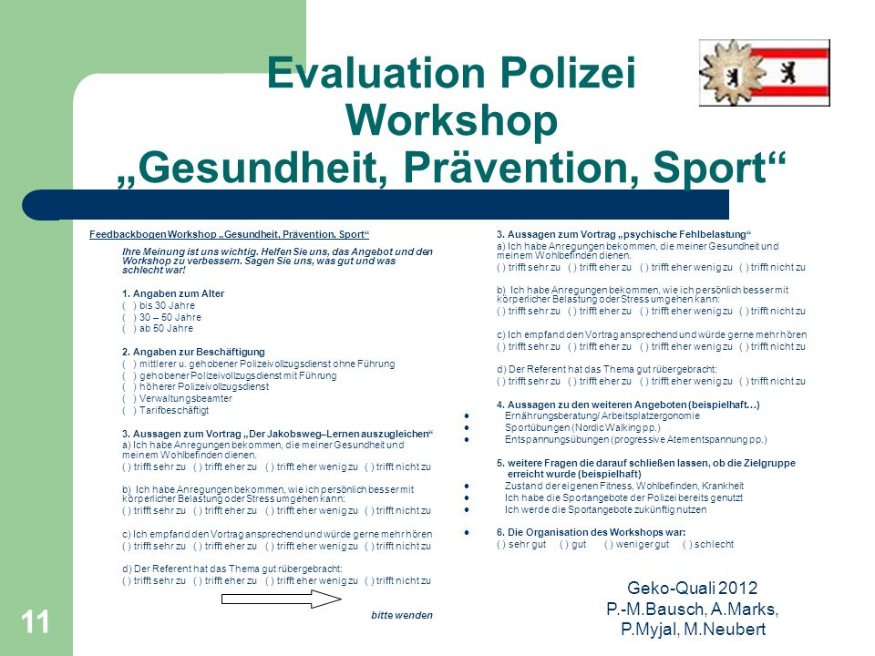 "Evaluation Polizei Workshop ""Gesundheit, Prävention, Sport"