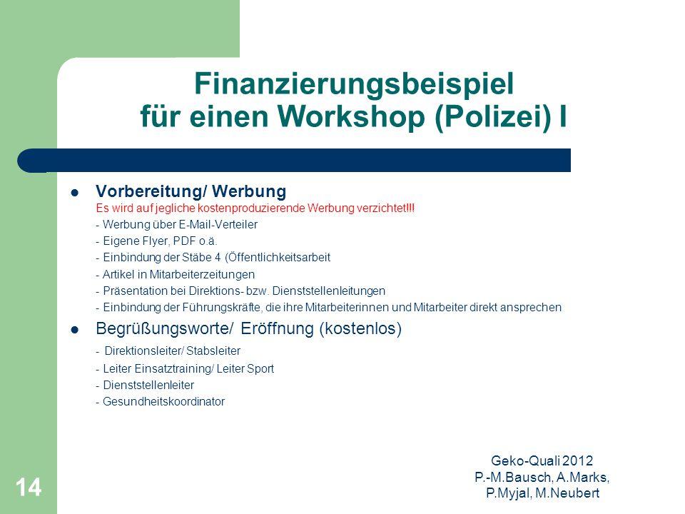 Finanzierungsbeispiel für einen Workshop (Polizei) I