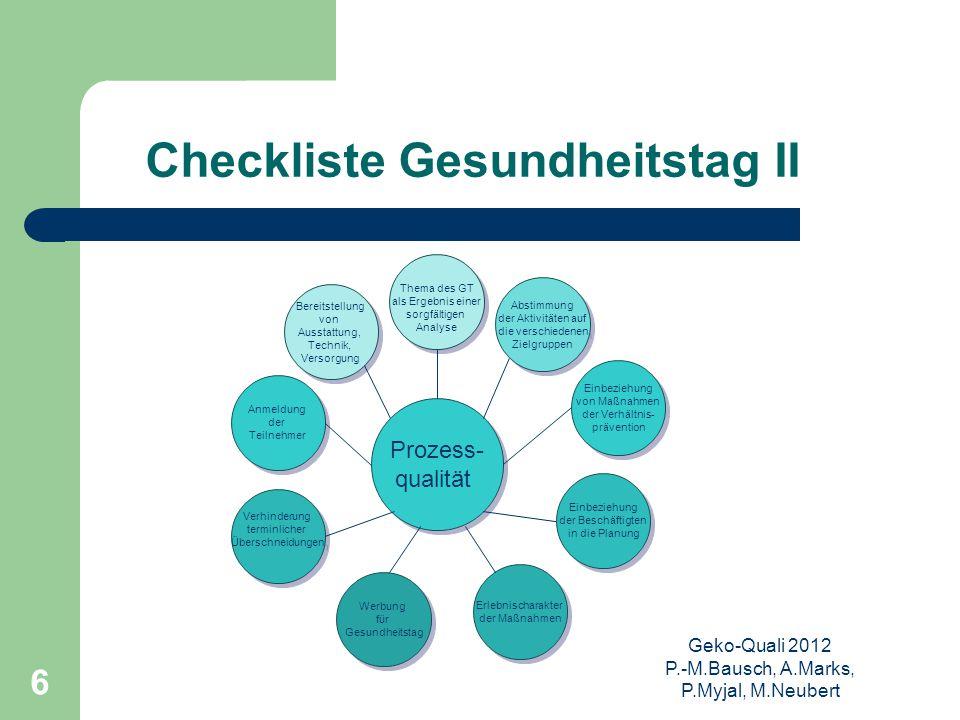 Checkliste Gesundheitstag II
