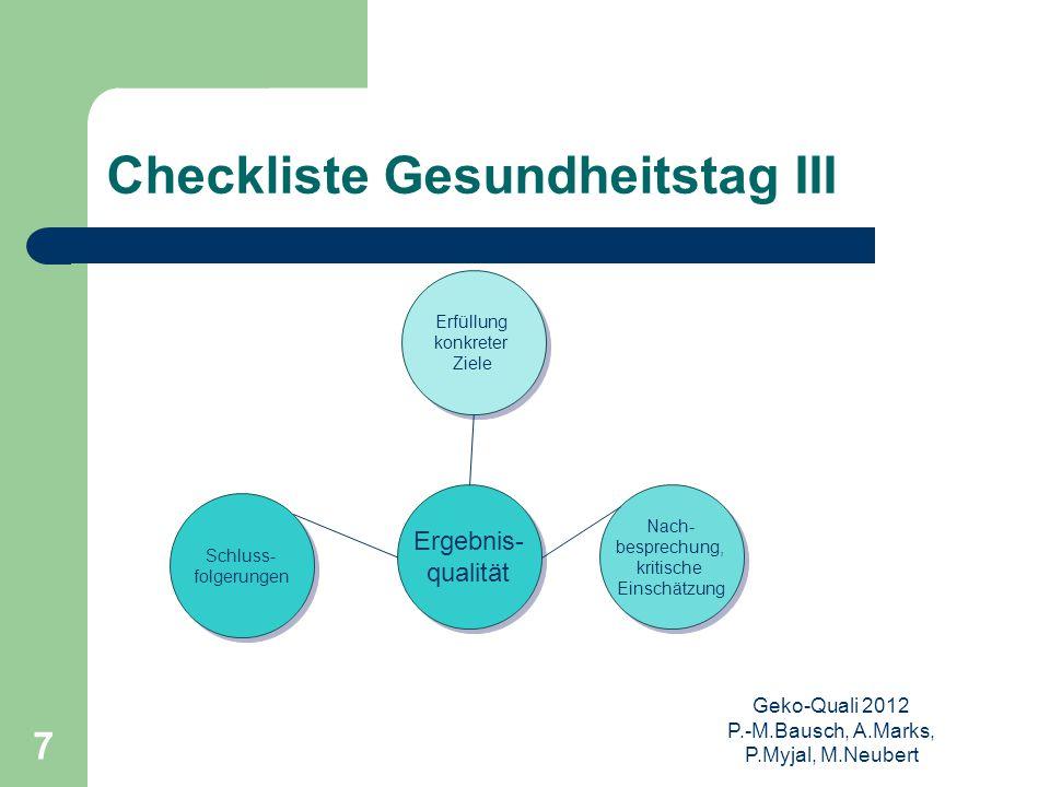 Checkliste Gesundheitstag III