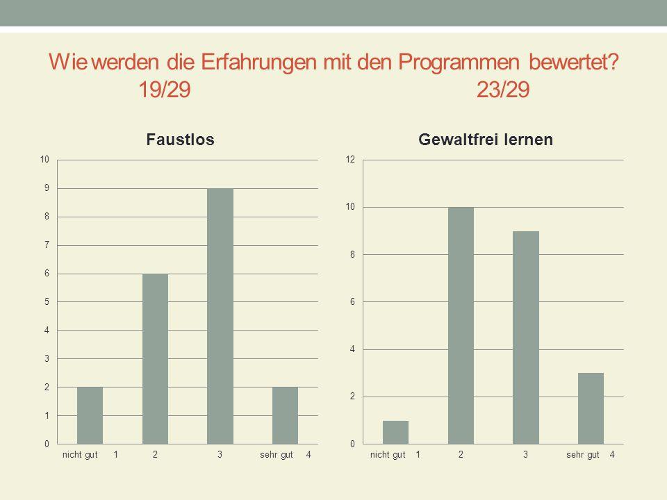 Wie werden die Erfahrungen mit den Programmen bewertet 19/29 23/29