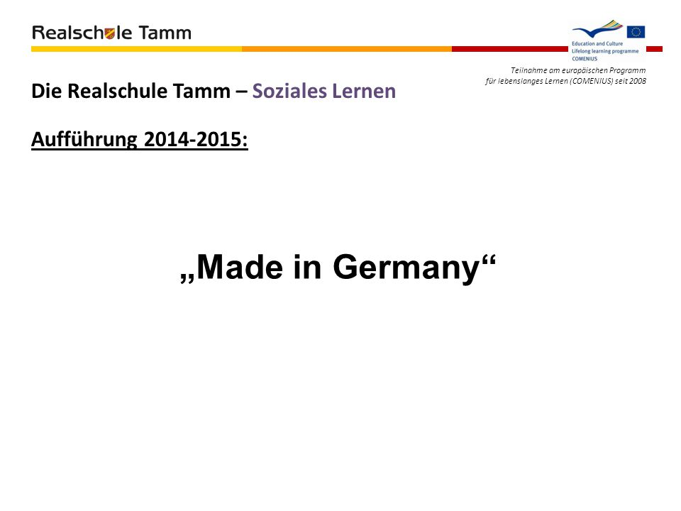 """Made in Germany Die Realschule Tamm – Soziales Lernen"