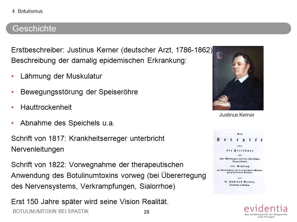 4. Botulismus Geschichte. Erstbeschreiber: Justinus Kerner (deutscher Arzt, 1786-1862) Beschreibung der damalig epidemischen Erkrankung: