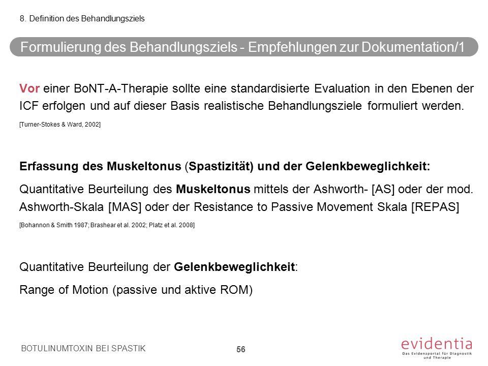 Formulierung des Behandlungsziels - Empfehlungen zur Dokumentation/1