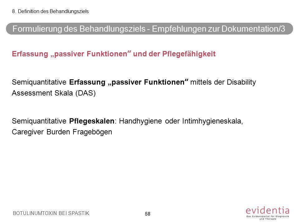 Formulierung des Behandlungsziels - Empfehlungen zur Dokumentation/3