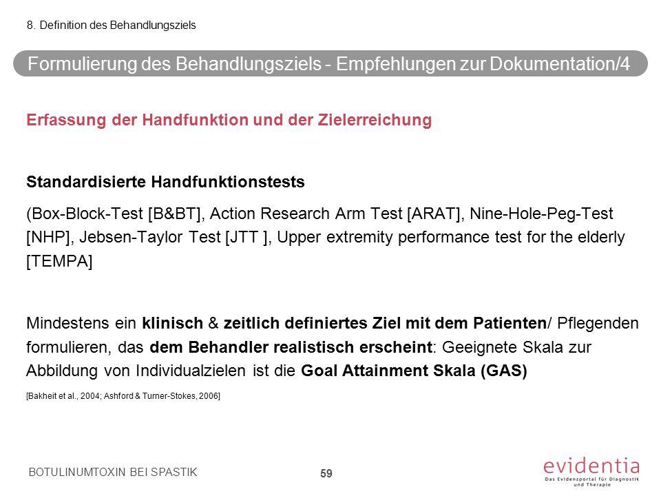 Formulierung des Behandlungsziels - Empfehlungen zur Dokumentation/4
