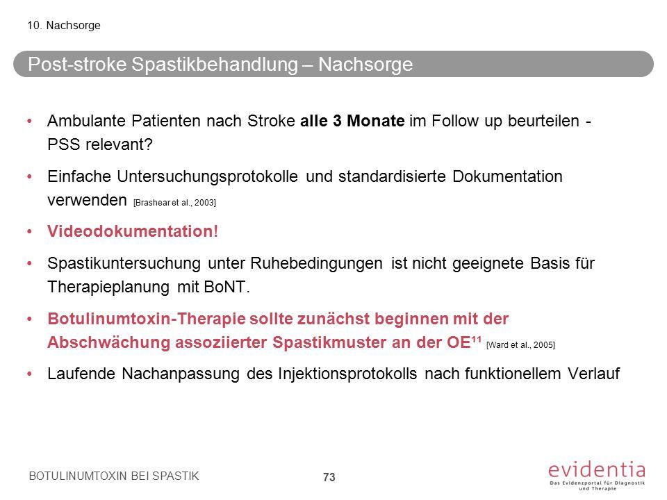 Post-stroke Spastikbehandlung – Nachsorge