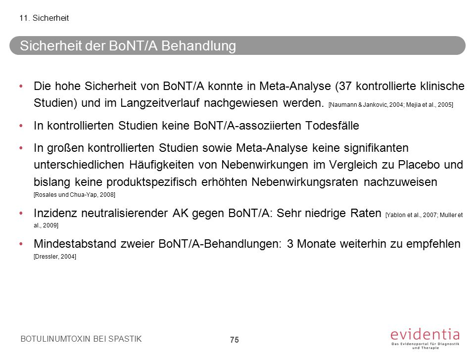 Sicherheit der BoNT/A Behandlung