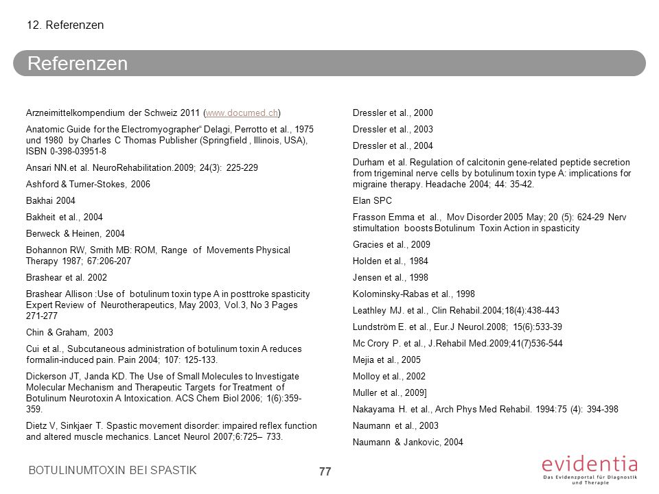 Referenzen 12. Referenzen BOTULINUMTOXIN BEI SPASTIK