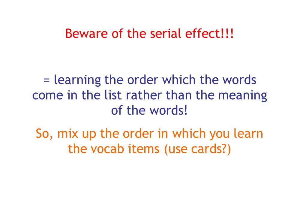 Beware of the serial effect!!!