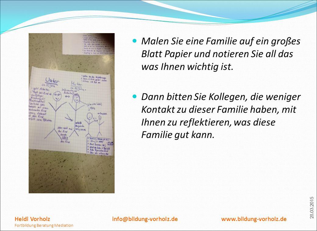 Malen Sie eine Familie auf ein großes Blatt Papier und notieren Sie all das was Ihnen wichtig ist.