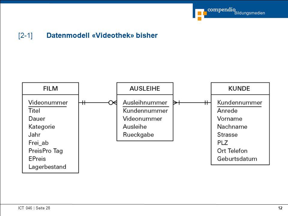 Datenmodell «Videothek» bisher Datenmodell «Videothek» bisher