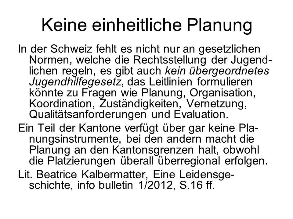 Keine einheitliche Planung