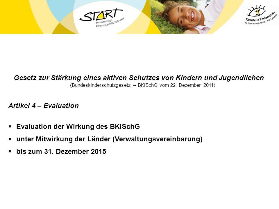 Gesetz zur Stärkung eines aktiven Schutzes von Kindern und Jugendlichen (Bundeskinderschutzgesetz – BKiSchG vom 22. Dezember 2011)