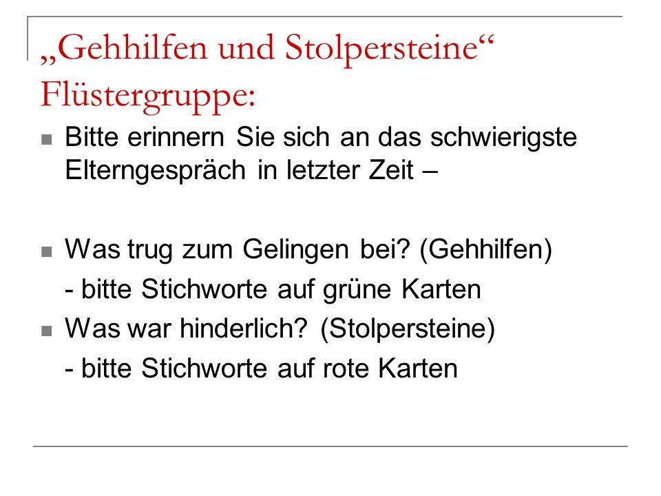 """""""Gehhilfen und Stolpersteine Flüstergruppe:"""