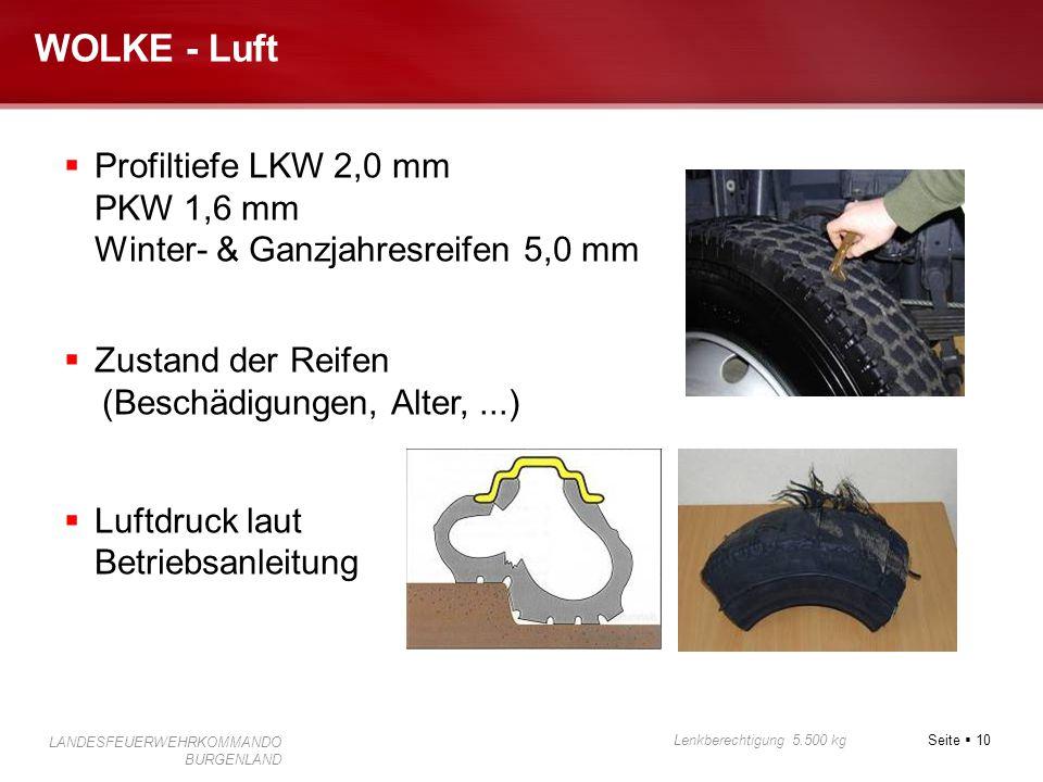 WOLKE - Luft Profiltiefe LKW 2,0 mm PKW 1,6 mm Winter- & Ganzjahresreifen 5,0 mm. Zustand der Reifen.