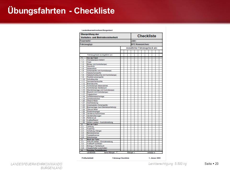 Übungsfahrten - Checkliste