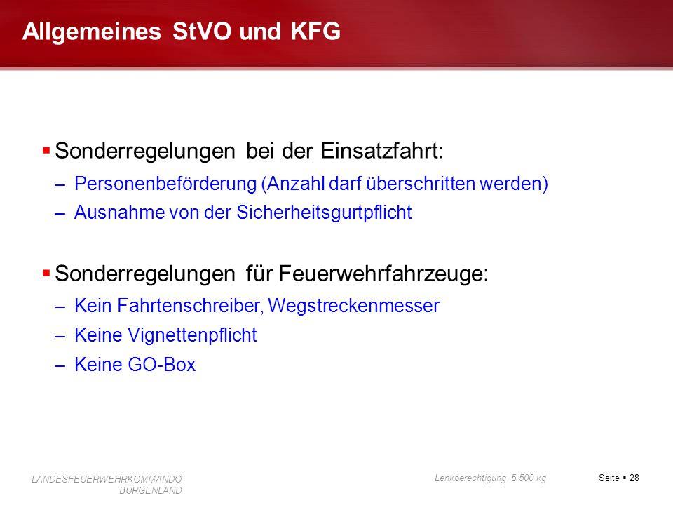Allgemeines StVO und KFG