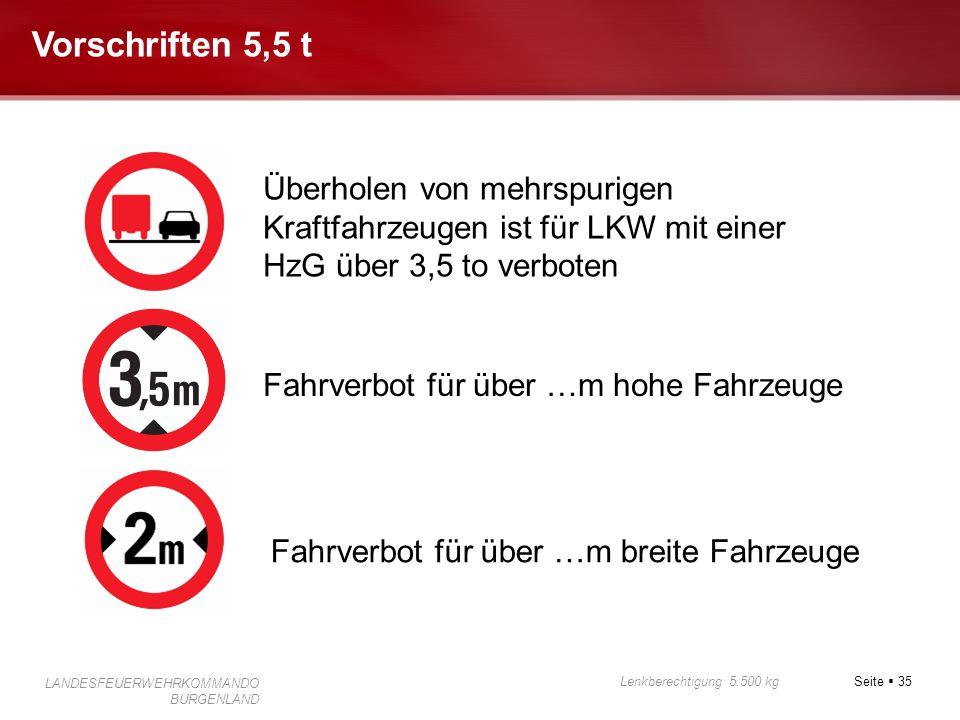 Vorschriften 5,5 t Überholen von mehrspurigen Kraftfahrzeugen ist für LKW mit einer HzG über 3,5 to verboten.