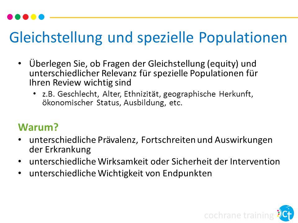 Gleichstellung und spezielle Populationen