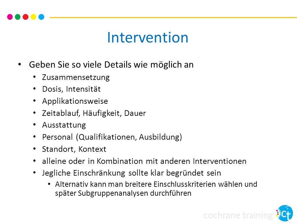 Intervention Geben Sie so viele Details wie möglich an Zusammensetzung