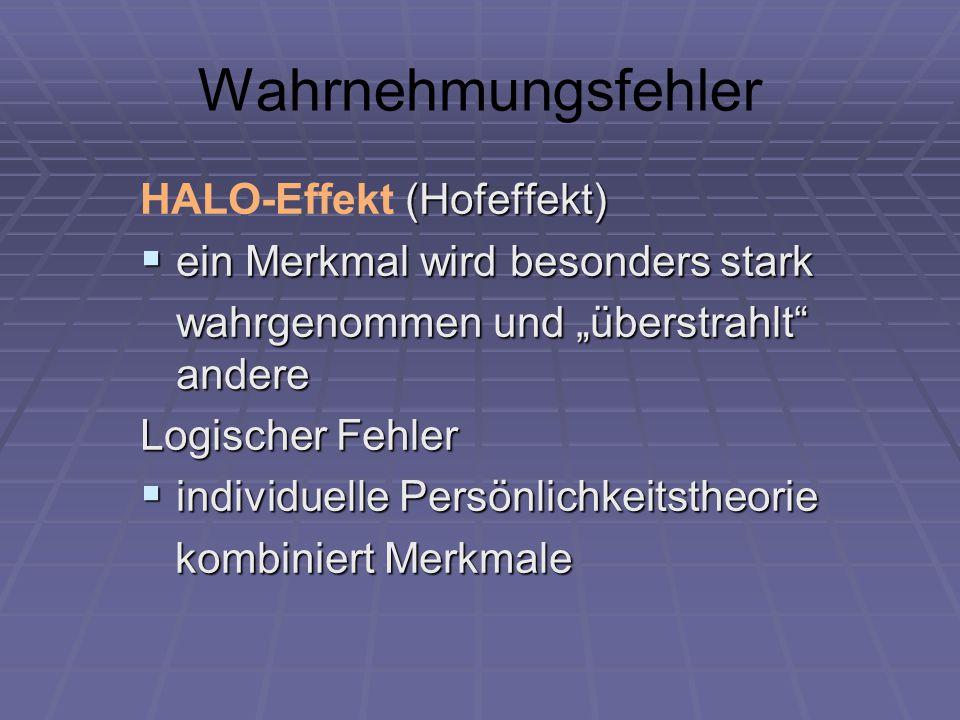 Wahrnehmungsfehler HALO-Effekt (Hofeffekt)