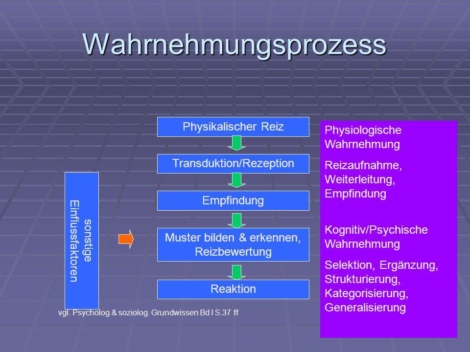Wahrnehmungsprozess Physikalischer Reiz Physiologische Wahrnehmung